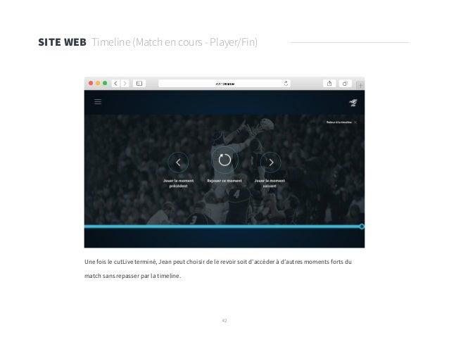 42 SITE WEB Timeline (Match en cours - Player/Fin) Une fois le cutLive terminé, Jean peut choisir de le revoir soit d'accé...