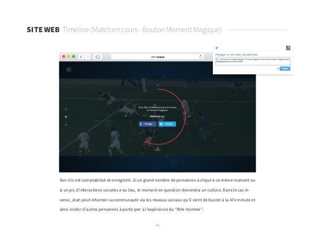 44 SITE WEB Timeline(Matchencours-BoutonMomentMagique) Son clic est comptabilisé et enregistré. Si un grand nombre de pers...