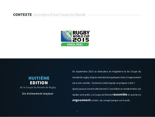 6 CONTEXTE Les enjeux d'une Coupe du Monde En Septembre 2015 se déroulera en Angleterre la 8e Coupe du monde de rugby. Dep...