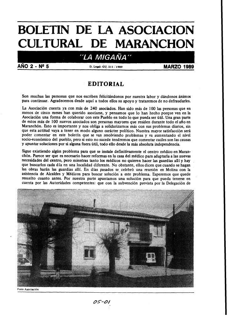 BOLETIN DE LA ASOCIACION CULTURAL DE MARANCHON ANO 2       - NQ5                        D. ~ e p i GU. 21 1 :             ...