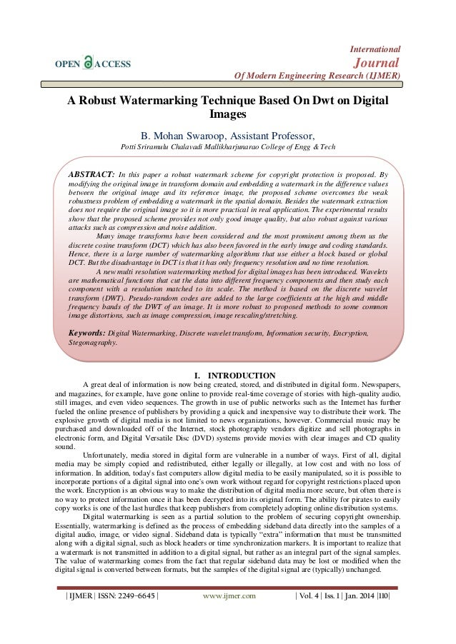 International OPEN  Journal  ACCESS  Of Modern Engineering Research (IJMER)  A Robust Watermarking Technique Based On Dwt ...