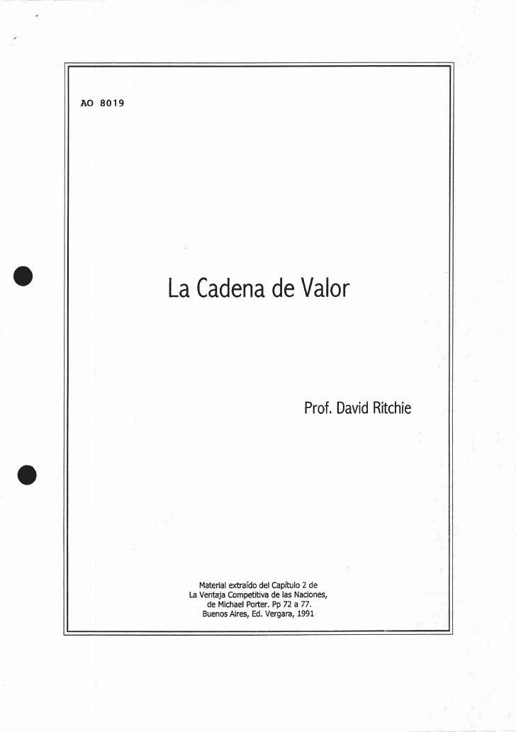 La Cadena de Valor Ao 8019