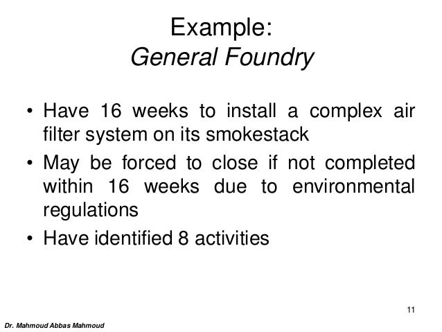 Example: General Foundry • Have 16 weeks to install a complex air filter system on its smokestack • May be forced to close...