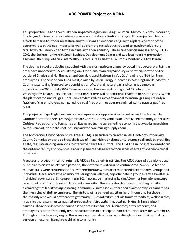 ARC POWER Project on AOAA Page 1 of 2 Thisprojectfocusesona 5-county coal impacted regionincludingColumbia,Montour,Northum...