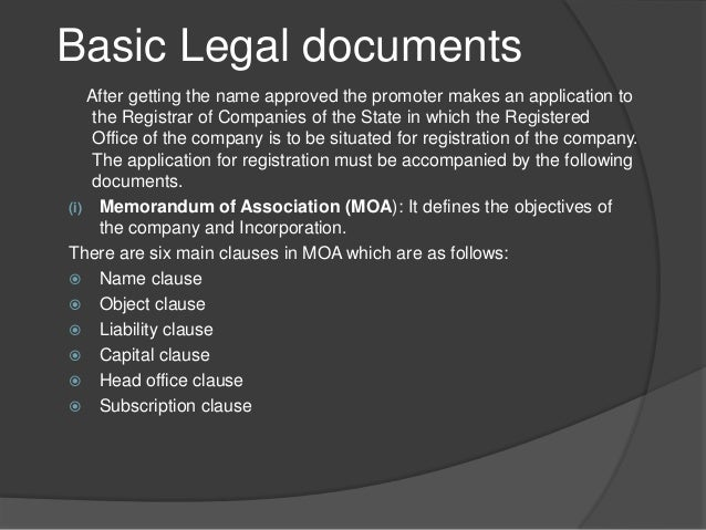 Basic Legal Documents Of A Company - Types of legal documents