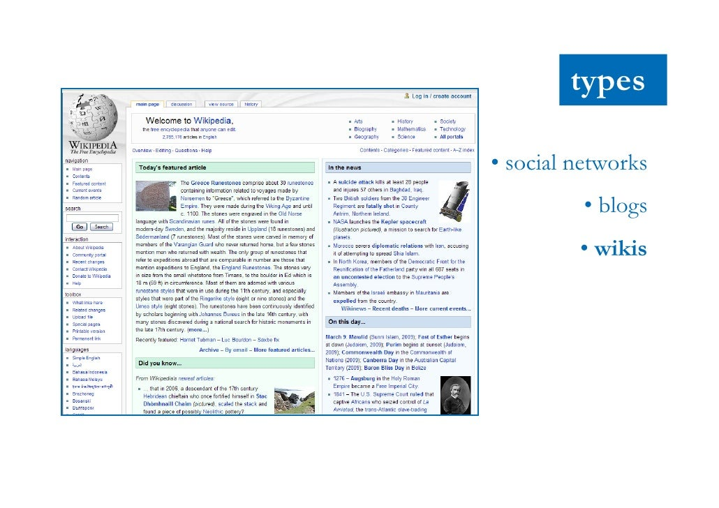 types        • social networks                 • blogs                 • wikis             • podcasts               • foru...