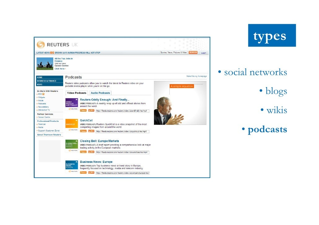 types       • social networks                • blogs                • wikis            • podcasts              • forums • ...