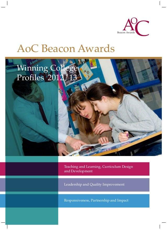 AoC Beacon AwardsWinning College Awards   AoC BeaconProfilesProspectus 2012/13         2012/13           Teaching and Lear...