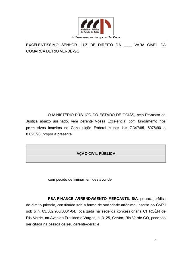 5ª PROMOTORIA DE JUSTIÇA DE RIO VERDE EXCELENTÍSSIMO SENHOR JUIZ DE DIREITO DA ____ VARA CÍVEL DA COMARCA DE RIO VERDE-GO....