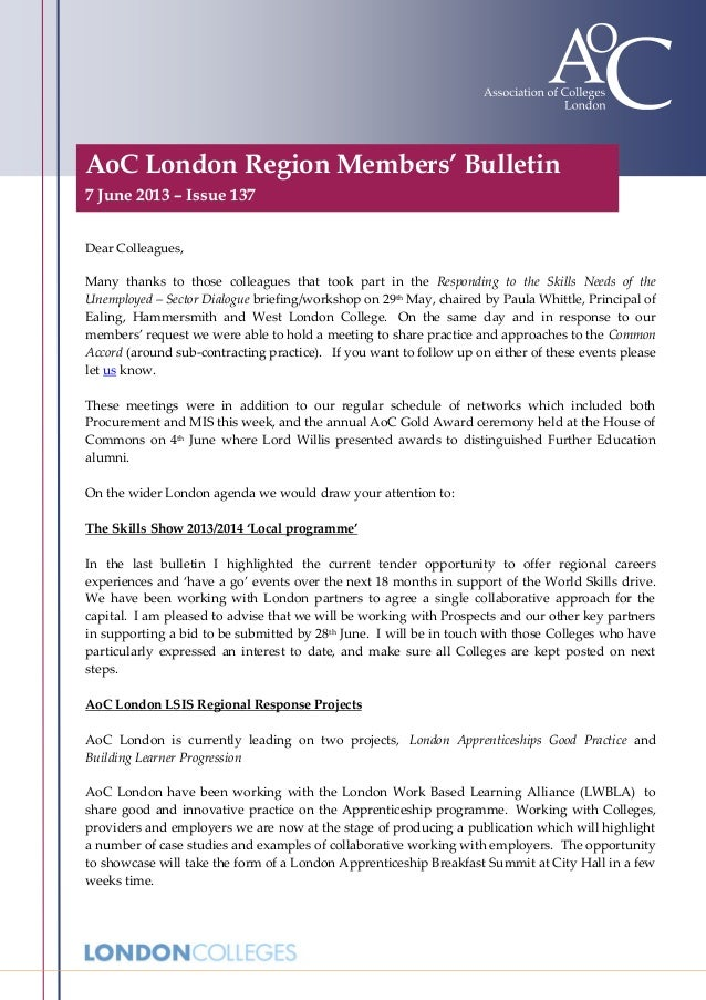 AoC London Region Members' Bulletin7 June 2013 – Issue 137Dear Colleagues,Many thanks to those colleagues that took part i...