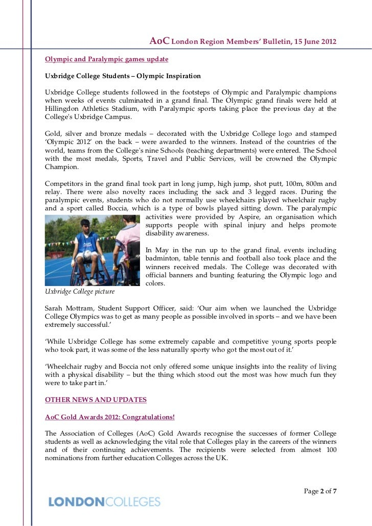 AoC London Region Members' Bulletin, 15 June 2012Olympic and Paralympic games updateUxbridge College Students – Olympic In...