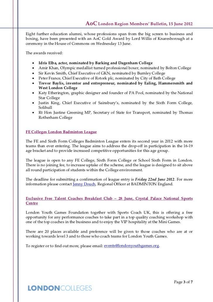 AoC London Region Members' Bulletin, 15 June 2012Eight further education alumni, whose professions span from the big scree...