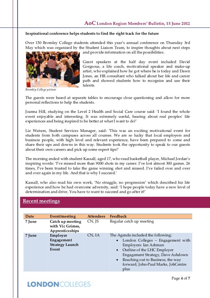 AoC London Region Members' Bulletin, 15 June 2012 Inspirational conference helps students to find the right track for the ...