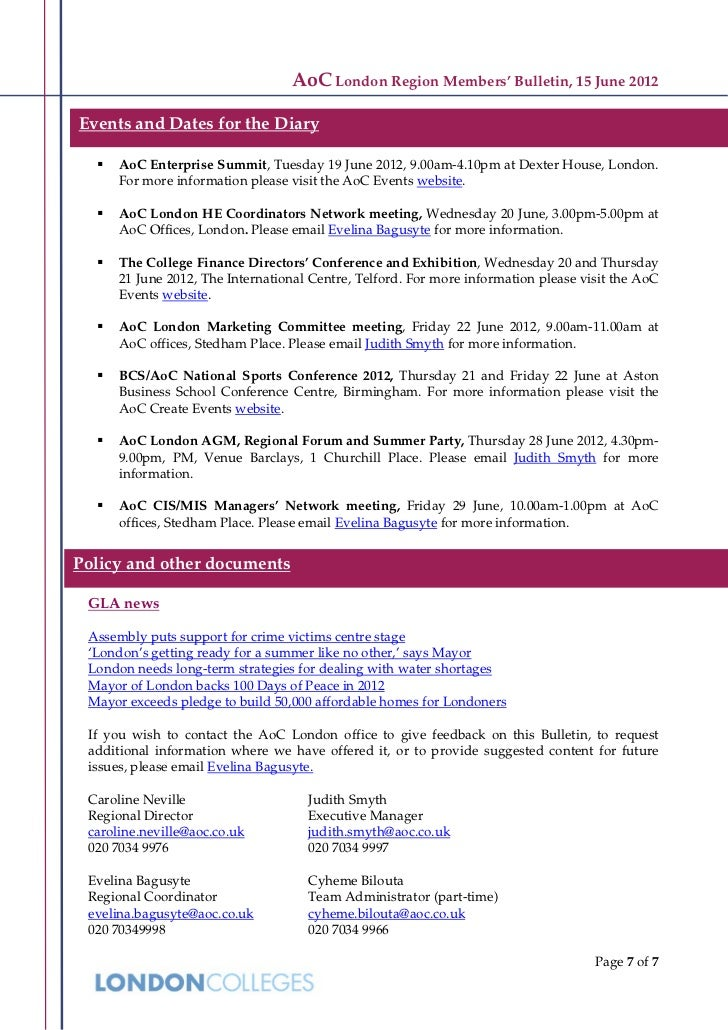 AoC London Region Members' Bulletin, 15 June 2012Events and Dates for the Diary     AoC Enterprise Summit, Tuesday 19 Jun...