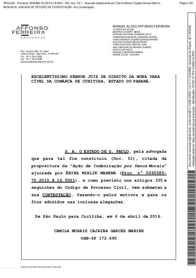 PROJUDI - Processo: 0035585-70.2015.8.16.0001 - Ref. mov. 33.1 - Assinado digitalmente por Camila Morais Cajaiba Garcez Ma...