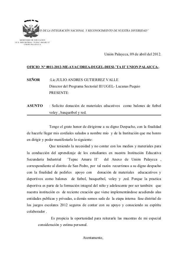 """c """"AÑO DE LA INTEGRACIÓN NACIONAL Y RECONOCIMIENTO DE NUESTRA DIVERSIDAD"""" MINISTERIO DE EDUCACION I.E.S. INDUSSTRIAL """"TUPA..."""