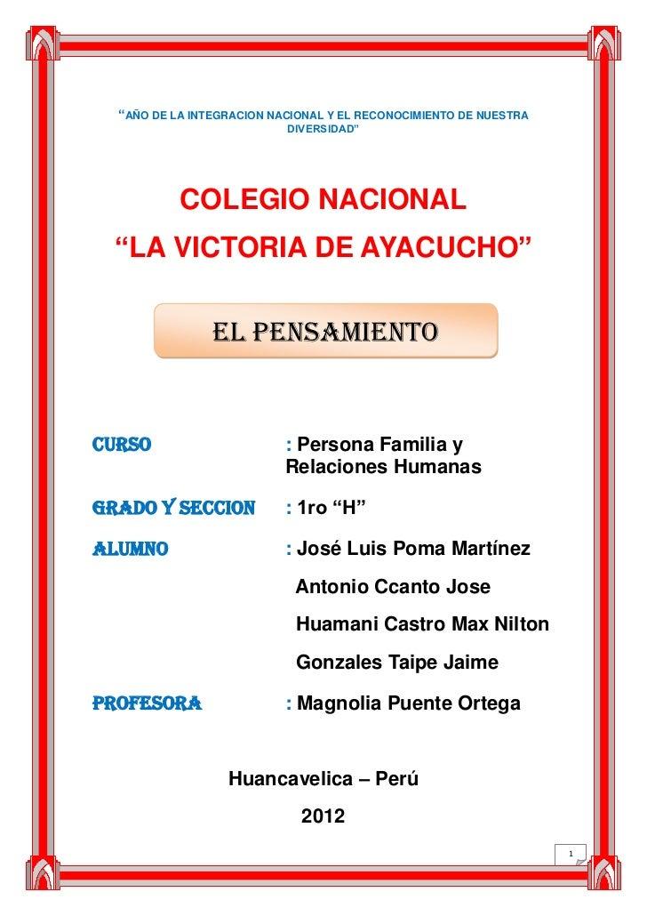 """""""AÑO DE LA INTEGRACION NACIONAL Y EL RECONOCIMIENTO DE NUESTRA                           DIVERSIDAD""""           COLEGIO NAC..."""