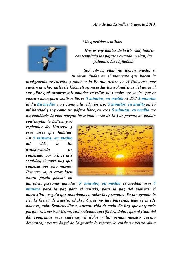 Año de las Estrellas, 5 agosto 2013. Mis queridas semillas: Hoy os voy hablar de la libertad, habéis contemplado los pájar...