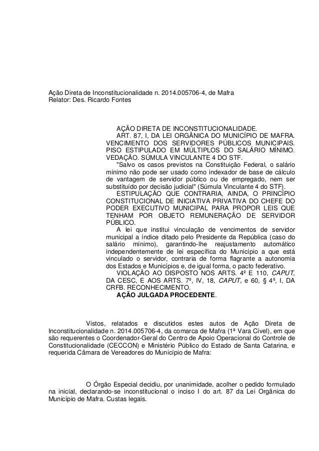 Ação Direta de Inconstitucionalidade n. 2014.005706-4, de Mafra Relator: Des. Ricardo Fontes AÇÃO DIRETA DE INCONSTITUCION...