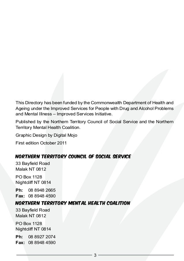 Northern Territory Alcohol and Other Drugs And Mental Health Services Directory Slide 3