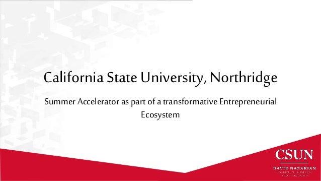 California State University, Northridge Summer Accelerator as part of a transformativeEntrepreneurial Ecosystem