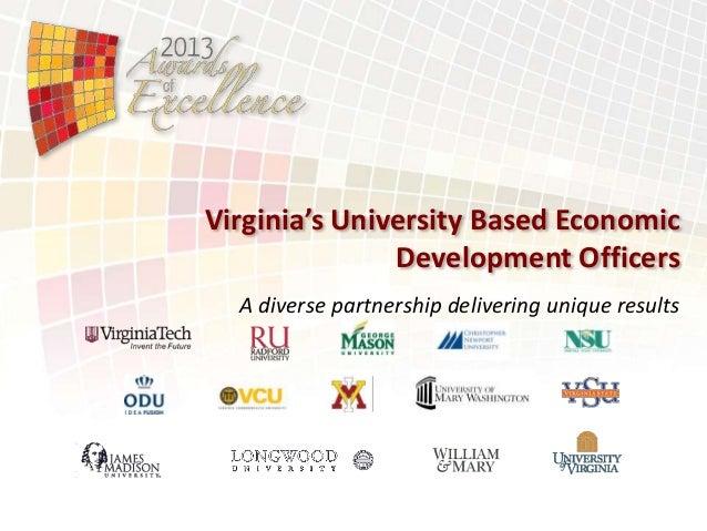 Virginia's University Based Economic Development Officers A diverse partnership delivering unique results