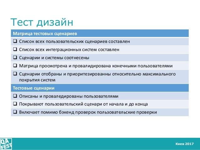 Киев 2017 Тест дизайн Матрица тестовых сценариев  Список всех пользовательских сценариев составлен  Список всех интеграц...