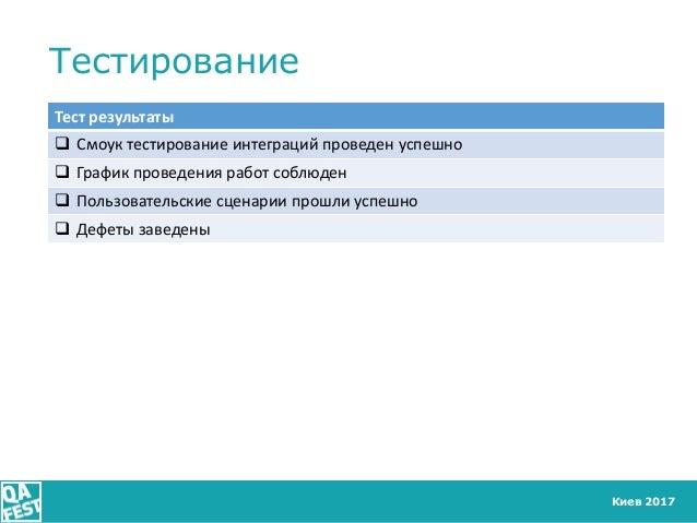 Киев 2017 Тестирование Тест результаты  Смоук тестирование интеграций проведен успешно  График проведения работ соблюден...