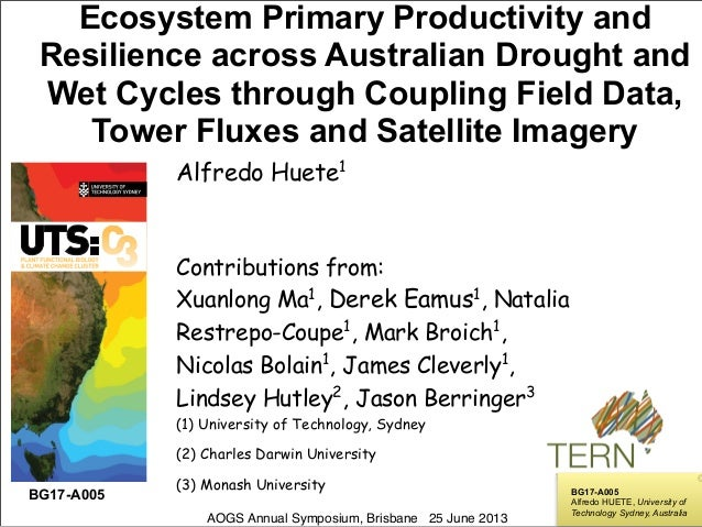 ! ! ! ! ! ! Ecosystem Primary Productivity and Resilience across Australian Drought and Wet Cycles through Coupling Field ...