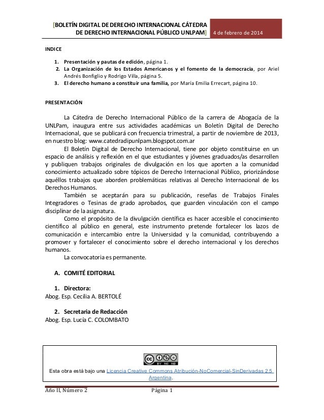 [BOLETÍN DIGITAL DE DERECHO INTERNACIONAL CÁTEDRA DE DERECHO INTERNACIONAL PÚBLICO UNLPAM] 4 de febrero de 2014 INDICE 1. ...