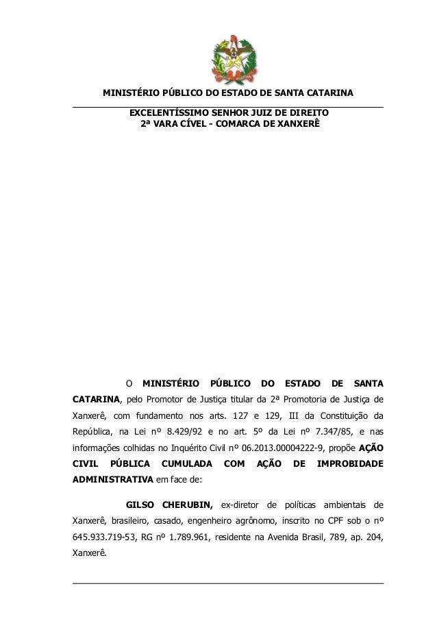 MINISTÉRIO PÚBLICO DO ESTADO DE SANTA CATARINA EXCELENTÍSSIMO SENHOR JUIZ DE DIREITO 2ª VARA CÍVEL - COMARCA DE XANXERÊ  O...