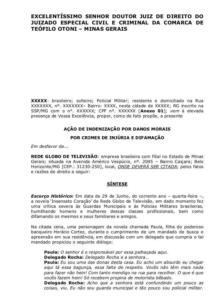 EXCELENTÍSSIMO SENHOR DOUTOR JUIZ DE DIREITO DO JUIZADO ESPECIAL CIVIL E CRIMINAL DA COMARCA DE TEÓFILO OTONI – MINAS GERA...