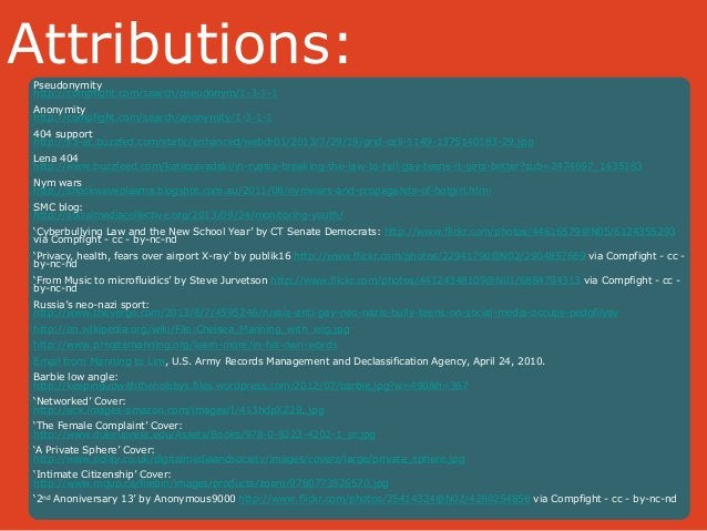 Attributions:  Pseudonymity  http://compfight.com/search/pseudonym/1-3-1-1  Anonymity  http://compfight.com/search/anonymi...