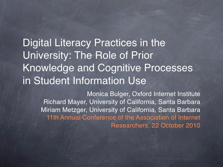 Digital Literacy Practices in the University: The Role of Prior Knowledge and Cognitive Processes in Student Information U...