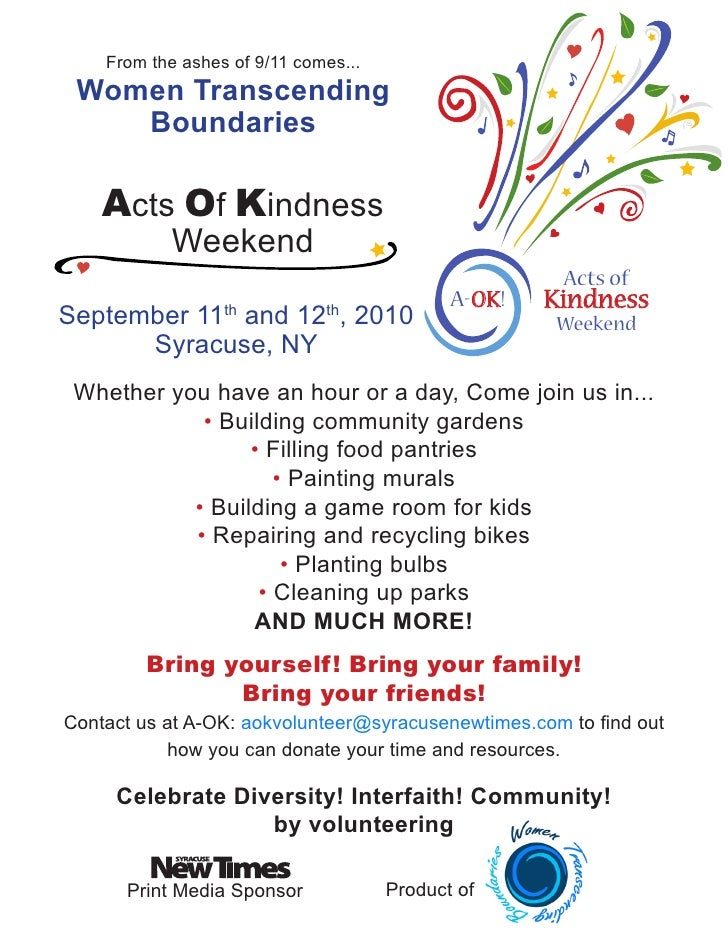 From the ashes of 9/11 comes...  Women Transcending     Boundaries      Acts Of Kindness             Weekend              ...