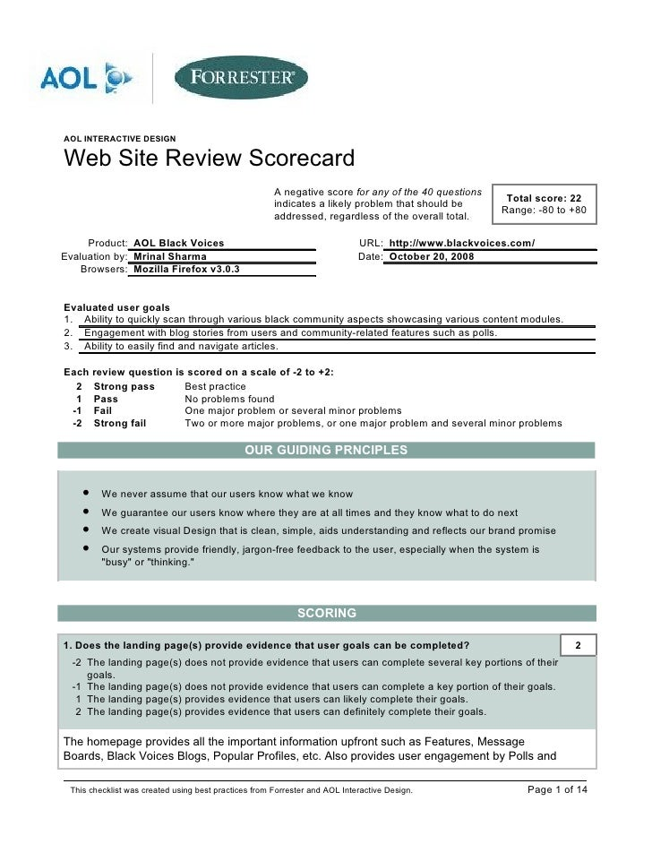 AOL INTERACTIVE DESIGNWeb Site Review Scorecard                                                      A negative score for ...