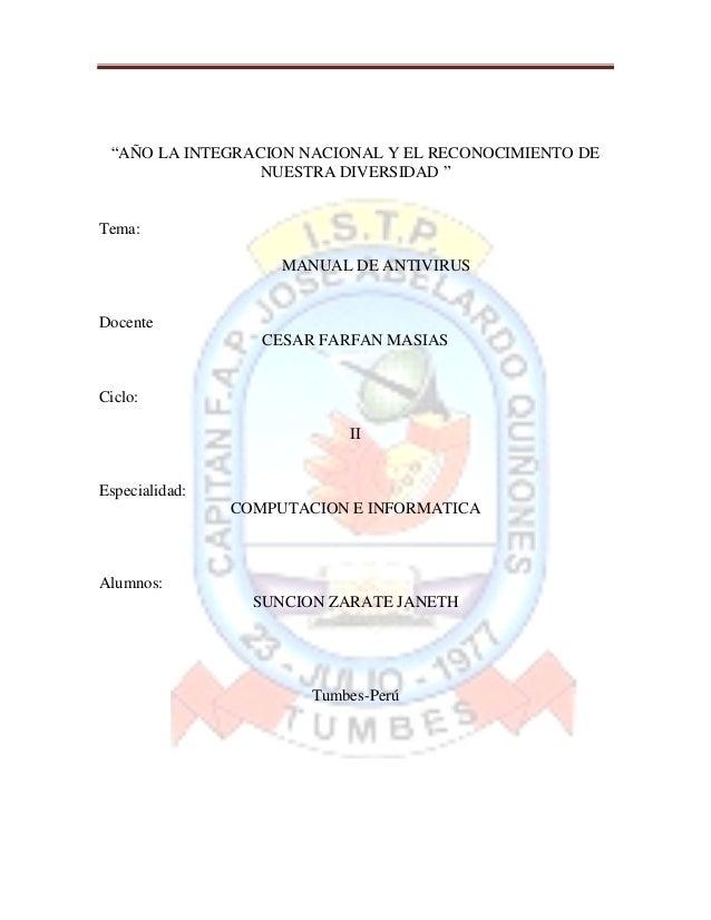 """""""AÑO LA INTEGRACION NACIONAL Y EL RECONOCIMIENTO DE                 NUESTRA DIVERSIDAD """"Tema:                     MANUAL D..."""