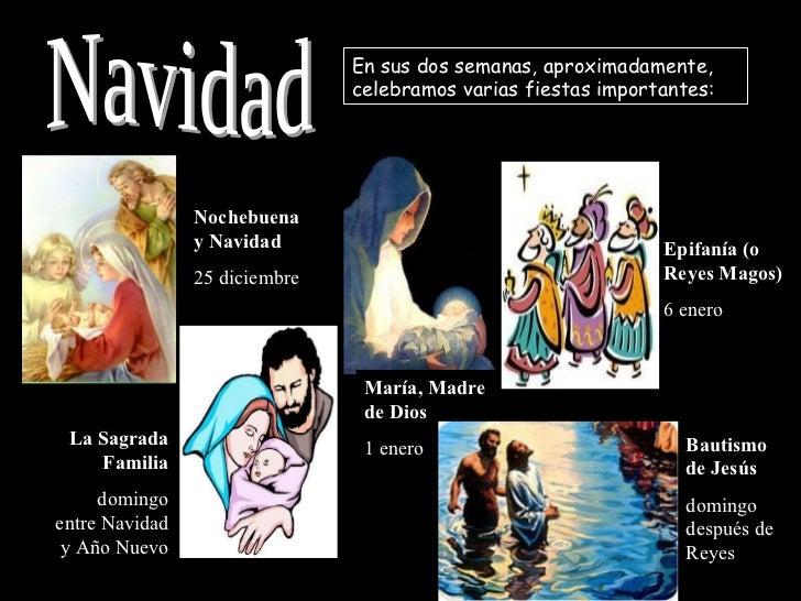 Navidad En sus dos semanas, aproximadamente, celebramos varias fiestas importantes: Nochebuena y Navidad 25 diciembre Epif...