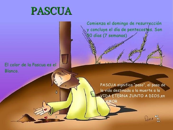 PASCUA Comienza el domingo de resurrección y concluye el  día  de  pentecostes.  Son 50 días (7  semanas) El color de la P...