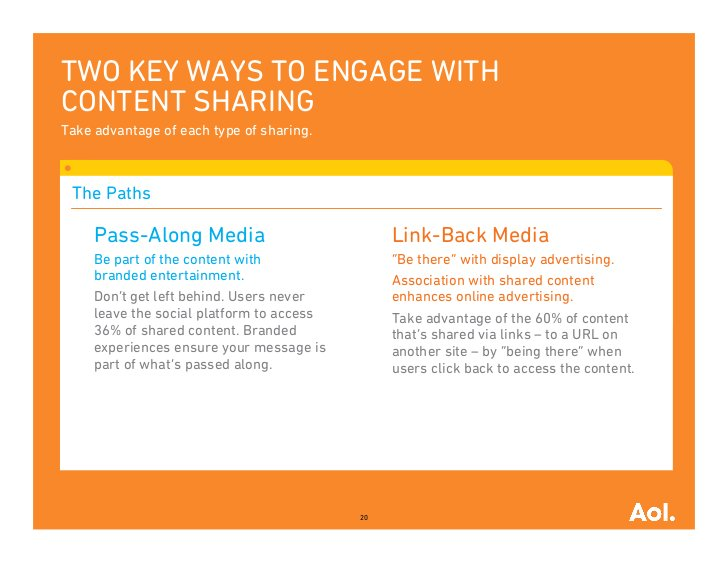 TWO KEY WAYS TO ENGAGE WITHCONTENT SHARINGTake advantage of each type of sharing. The Paths     Pass-Along Media          ...