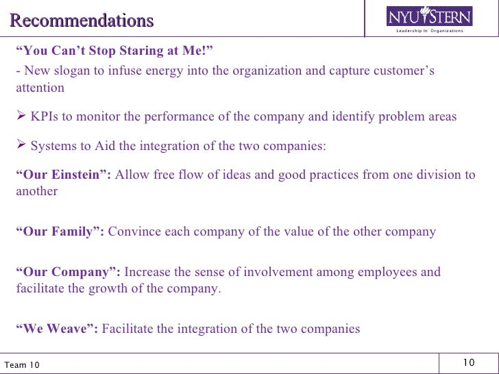 """Recommendations <ul><li>"""" You Can't Stop Staring at Me!"""" </li></ul><ul><li>- New slogan to infuse energy into the organiza..."""