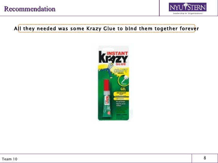 Recommendation All they needed was some Krazy Glue to bind them together forever