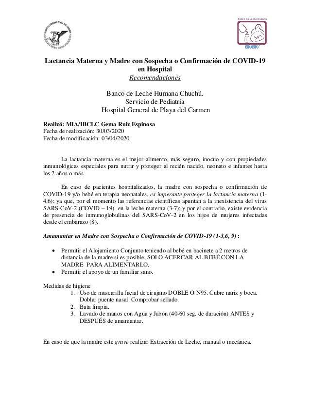 Lactancia Materna y Madre con Sospecha o Confirmación de COVID-19 en Hospital Recomendaciones Banco de Leche Humana Chuchú...