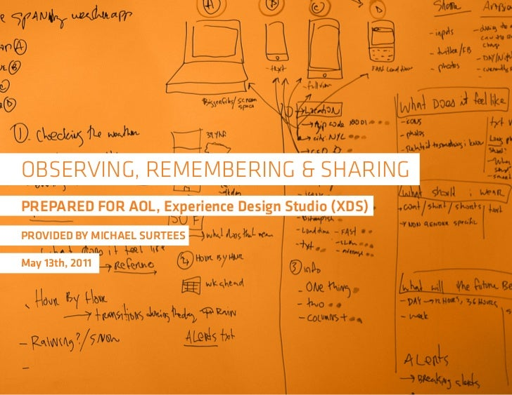 OBSERVING, REMEMBERING & SHARINGPREPARED FOR AOL, Experience Design Studio (XDS)PROVIDED BY MICHAEL SURTEESMay 13th, 2011