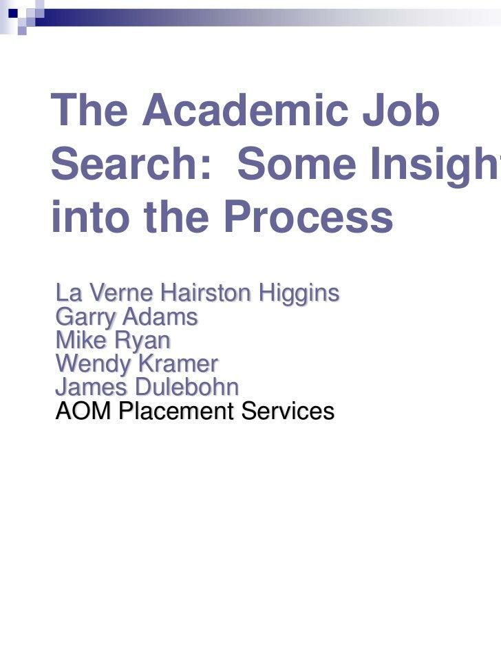 The Academic JobSearch: Some Insightsinto the ProcessLa Verne Hairston HigginsGarry AdamsMike RyanWendy KramerJames Dulebo...