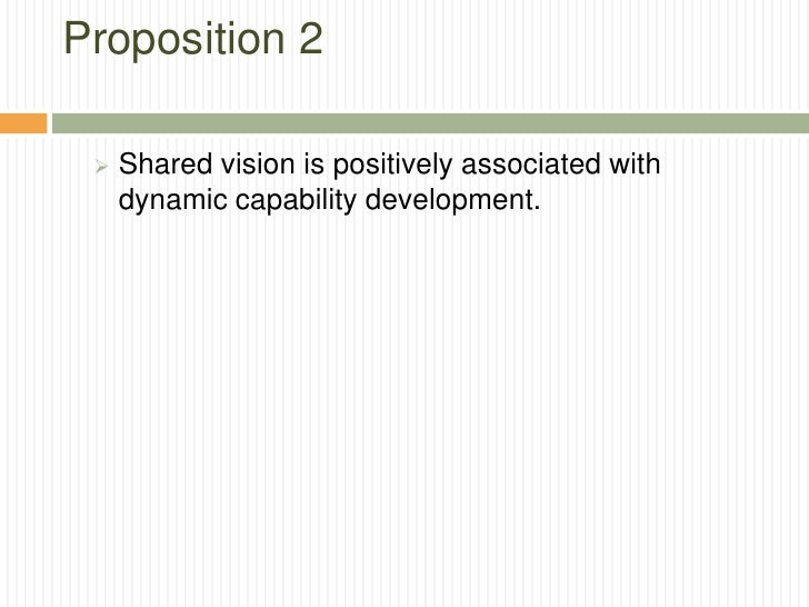 Proposition 2    Shared vision is positively associated with     dynamic capability development.
