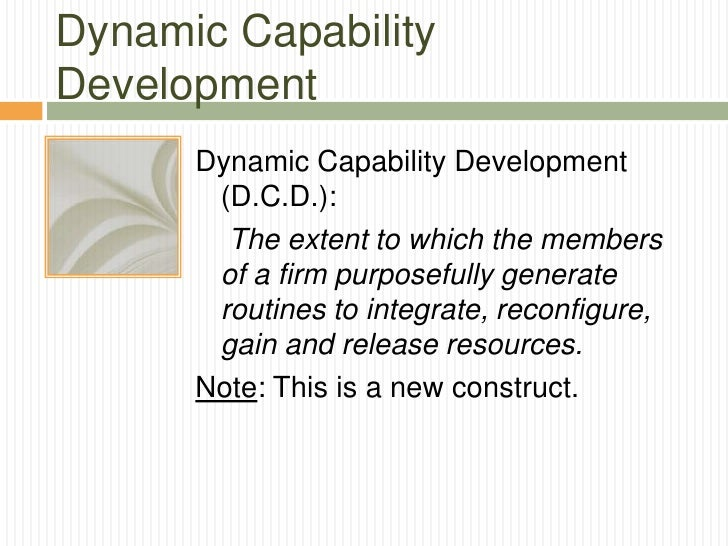 Dynamic CapabilityDevelopment      Dynamic Capability Development       (D.C.D.):        The extent to which the members  ...