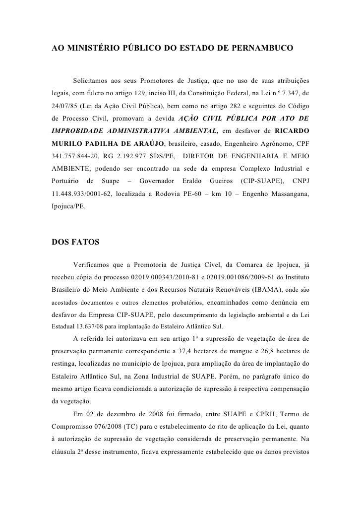 AO MINISTÉRIO PÚBLICO DO ESTADO DE PERNAMBUCO          Solicitamos aos seus Promotores de Justiça, que no uso de suas atri...