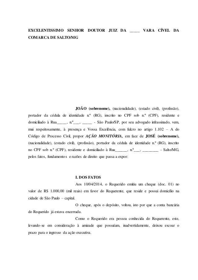 EXCELENTISSIMO SENHOR DOUTOR JUIZ DA _____ VARA CÍVEL DA COMARCA DE SALTO/MG JOÃO (sobrenome), (nacionalidade), (estado ci...