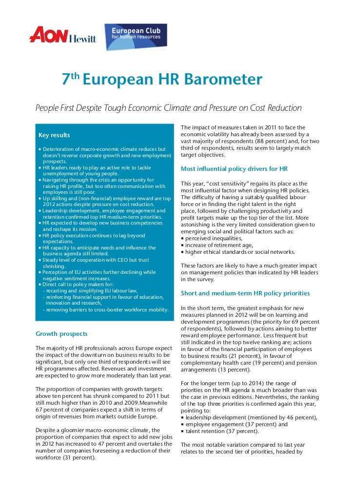 7th European HR BarometerPeople First Despite Tough Economic Climate and Pressure on Cost Reduction                       ...